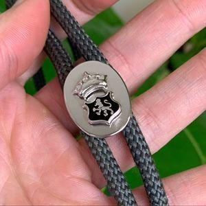 Vintage Silver Lion Crown Shield Crest Bolo Tie